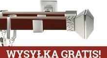 Karnix Karnisz kwadratowy ROYAL podwójny 20x20/20x20mm Eve Chrom mat - mahoń