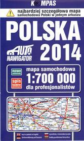 Polska 2014 Mapa samochodowa 1:700 000 dla profesjonalistów