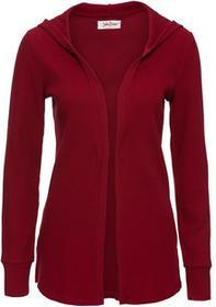 Bonprix Sweter rozpinany z kapturem, długi rękaw pomarańczowo-czerwony