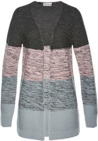 Bonprix Sweter bez zapięcia szaro-pastelowy jasnoróżowy