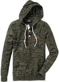 Bonprix Sweter Slim Fit ciemnooliwkowy melanż