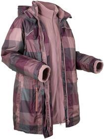 Bonprix Długa kurtka outdoorowa 3 w 1 czarny bez w kratę