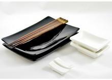 Oriental Selection Zestaw do sushi czarno-biały połysk dla 2 osób