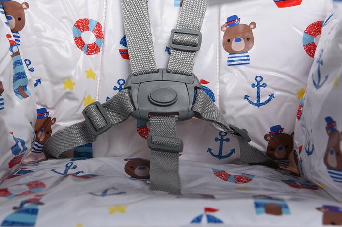 FUN BABY Krzesełko do karmienia dzieci, rozkładane - Basic- marine KC126-MAR
