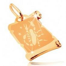 Biżuteria e-shop Zawieszka z żółtego 14K złota - pergamin ze znakiem zodiaku SKORPION