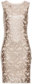 Bonprix Sukienka z cekinami złoty