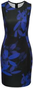 Bonprix Sukienka w kwiaty czarno-ciemnoniebieski