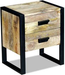 vidaXL Stolik boczny, szafka z 2 szufladami drewna mango 43x33x51 cm
