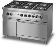 Lozamet Kuchnia gazowa 6-palnikowa z piekarnikiem elektrycznym z termoobiegiem GN 2/1 i szafką, 1350x900x900 mm | L900.KG6.PET.SD L900.KG6.PET.SD