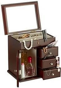 Relaxdays drewniana szkatułka na biżuterię z lustrem, szkatułka na łańcuszki, pudełko na biżuterię HBT 22,5 x 22 x 17 cm, różne kolory