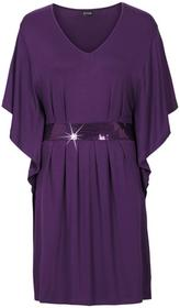 Bonprix Sukienka z aplikacją z perełek ciemny lila