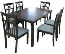 Lectus Zestaw stołowy Pado stół + 6 krzeseł ciemny brąz