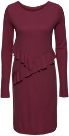 Bonprix Sukienka z dżerseju z falbanami czerwony klonowy
