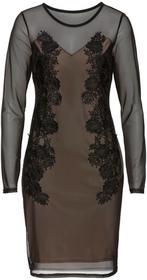 Bonprix Sukienka siatkowa z koronką czarno-cielisty