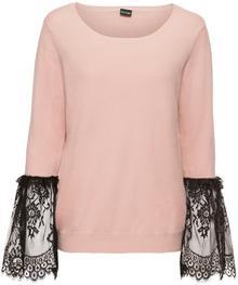 Bonprix Sweter z koronkową wstawką w rękawach różowy