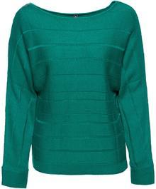 Bonprix Sweter z dekoracyjnym zamkiem ciemnoszmaragdowy