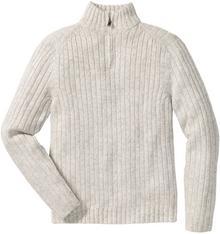 Bonprix Sweter melanżowy ze stójką Regular Fit naturalny melanż