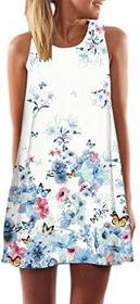 Boho honghu damskie eleganckie suknie damska bez rękawów lato druku Dress Strand Vacation minisukienka impreza sukienki - styl xl 2708S0214BWT-XL
