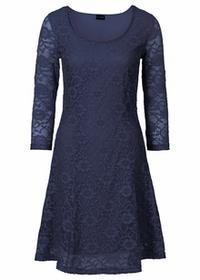 Bonprix Sukienka z koronką ciemnoniebieski