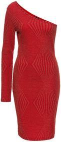 Bonprix Sukienka żakardowa na jedno ramię truskawkowo-złoty