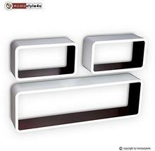 Homestyle4u Cube regał ścienny regał na książki regał wiszący 3-częściowy zestaw retro design biały brązowy Homestyle4u_1198