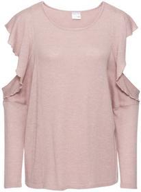 Bonprix Sweter z wycięciami różowy melanż