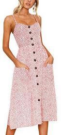 Angashion damski Wycięcie w kształcie V spaghetti prasowania kwiaty letnia sukienka elegancka sukienka koktajlowa Vintage sukienki -  XL (EU 40) Rosa B078XPHYGB