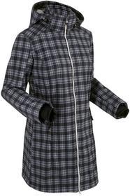 Bonprix Długa kurtka softshell z polarem barankiem czarny w kratę