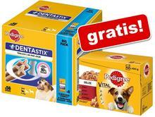 Pedigree Megapakiet Pedigree Dentastix 112 szt + Pakiet Pedigree Saszetki w galarecie 12 x 100 g gratis! Dla dużych psów 4320 g + Pedigree w sosie