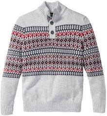 Bonprix Sweter z plisą guzikową Regular Fit szary melanż