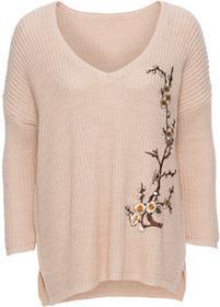 Bonprix Sweter dzianinowy z haftem dymny różowy