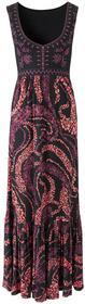 Bonprix Długa sukienka czarno-koralowy