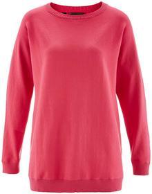 Bonprix Sweter z rękawami typu nietoperz różowy hibiskus