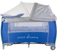 Sun Baby Łóżeczko z pełnym wyposażeniem Sweet Dreams niebieskie SD995/NS