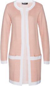 Bonprix Sweter bez zapięcia dymny jasnoróżowy - biały
