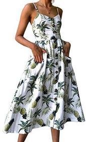 Angashion damski Wycięcie w kształcie V spaghetti prasowania kwiaty letnia sukienka elegancka sukienka koktajlowa Vintage sukienki -  biały B078XPHYGB