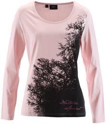 Bonprix Shirt z długim rękawem pudrowy jasnoróżowy z nadrukiem