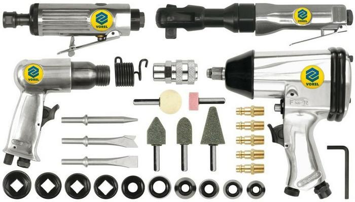 VOREL Zestaw kluczy pneumatycznych z akcesoriami 33 części 81142