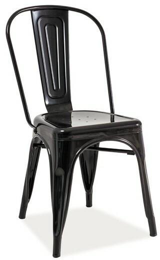 Signal Krzesło Metalowe Loft Czarny Przecierany Ceny Dane