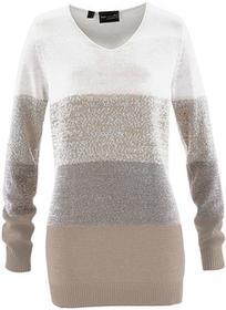 Bonprix Długi sweter z kaszmirem biel wełny - beżowoszary