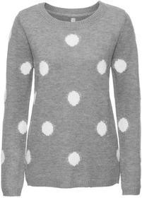 Bonprix Sweter szary melanż - biały w grochy