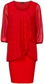 Bonprix Sukienka shirtowa z szyfonową wstawką, rękawy 3/4 truskawkowy