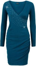Bonprix Sukienka dzianinowa z aplikacją ze sztrasów niebieskozielony morski