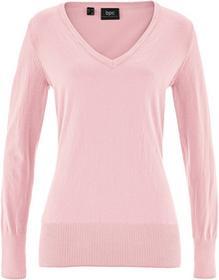 Bonprix Sweter z dekoltem w serek pastelowy jasnoróżowy