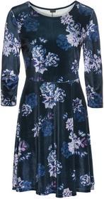 Bonprix Sukienka aksamitna w kwiatowy deseń ciemnoniebieski w kwiaty