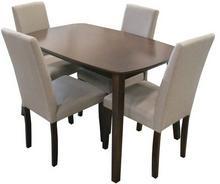 Lectus Zestaw stołowy Vadic stół + 4 krzesła ciemny brąz/ beż KS-SET-004