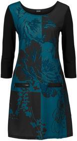 Bonprix Sukienka z zamkami czarno-niebieskozielony morski wzorzysty