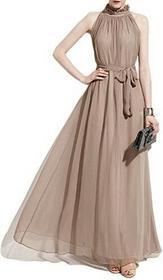 ishine elegancka damska bez rękawów suknie wieczorowe szyfon sukienki Dame sukienki Cocktail sukienki Czeskie długa sukienka plażowa -  sukienka wiązana l khaki 43246-28969