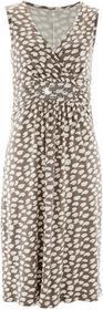 Bonprix Sukienka z nadrukiem brunatno-biały