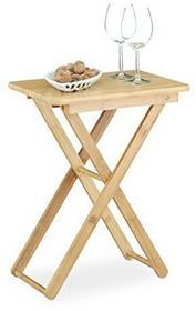 Relaxdays dostawiany stolik z drewna bambusowego, składany, mały, prostokątny, wys. x szer. x gł.:52x 40x 31cm, kolor naturalny